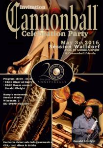 Invitation celebration party 20th Anniversary Cannonball